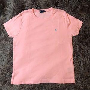 Women's crew neck pink polo tee shirt.